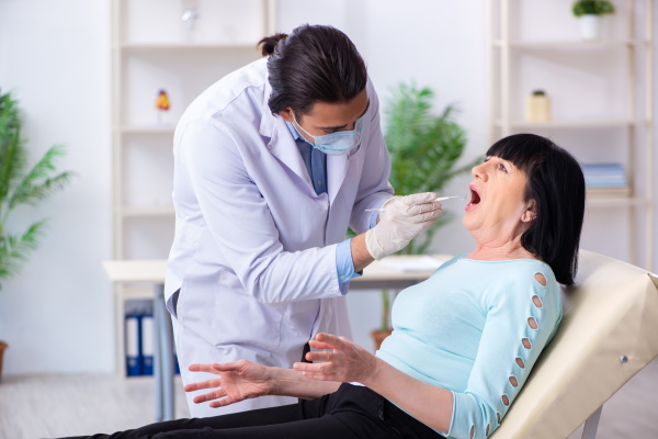 old woman visiting dentist